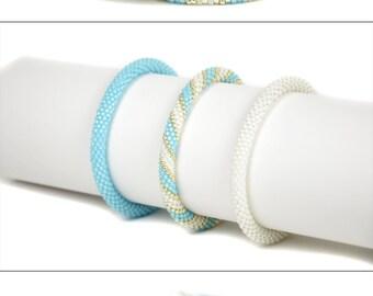 Blue White Bracelet Set Womens Bracelet Set Beaded Bracelet Seed Bead Bracelet Summer jewelry Gift for women Beadwork Jewelry sister gift