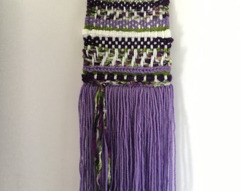 Purple and Green Woven Wall Hanging