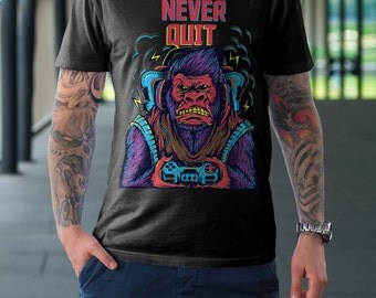 Gorilla Gamer Men's T Shirt - American Apparel T-shirt shirt adult soft graphic design black  Gift for him tee