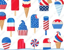 Patriotic ice cream, 4th Of July clipart, 4th Of July clip art, 4th Of July ice cream, Independence Day clipart snow cone popsicle ice lolly