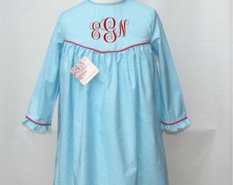 Blue Birthday dress for girls, Girl Dress, Back to School Dress, Infant dress,  monogrammed dresses, toddlers Dresses FREE Monogram