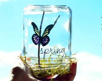 Spring | Gift | Spring decor | Butterfly gifts for her | Easter basket stuffers | Yellow and Purple | Mantel decorating ideas | Happy spring