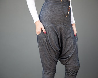 Women harem pants, Drop-crotch pants, women trousers, black jeans pants, chic pants, pants with small pockets    sizes : XS / S / M / L / Xl