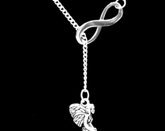 Fairy Guardian Angel Mythical Creature Charm Infinity Lariat Necklace