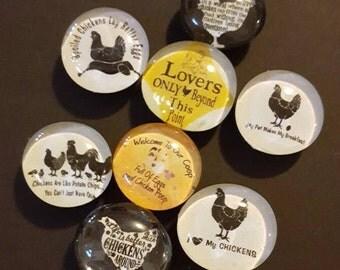 Set of 8 Strong Glass Chicken Magnets, Crazy Chicken Lover, funny Refrigerator Magnets, Fridge Art, Kitchen, Office Decor, Chicks, Bird