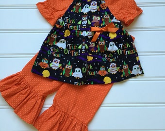 Halloween Outfit for Toddler, Toddler Girl Outfit, Ruffle Pants Outfit, Little Girl Outfit, Halloween Clothes, 3T, 4T