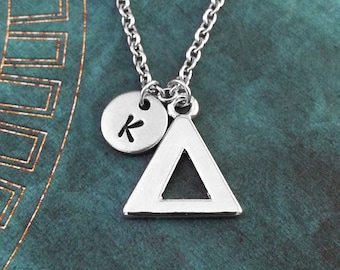 Delta Necklace SMALL Greek Letter Necklace Greek Alphabet Necklace College Jewelry Sorority Necklace Fraternity Jewelry Delta Symbol Gift