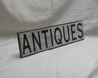 """ANTIQUES wall sign, 4 1/4""""x 17"""", distressed"""