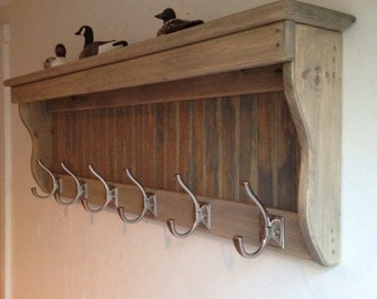"40"" Handcrafted Wood wall mount Coat Rack, Display Shelf Key Hook, Weathered Oak Gray Stain and other sizes and stains"