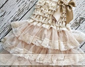Rustic Flower Girl Dress, Country Flower Girl Dress, Baby Girl Vintage Dresses, Ivory Flowergirl Dress, Lace Ruffle Dress -CHOOSE BOW COLOR