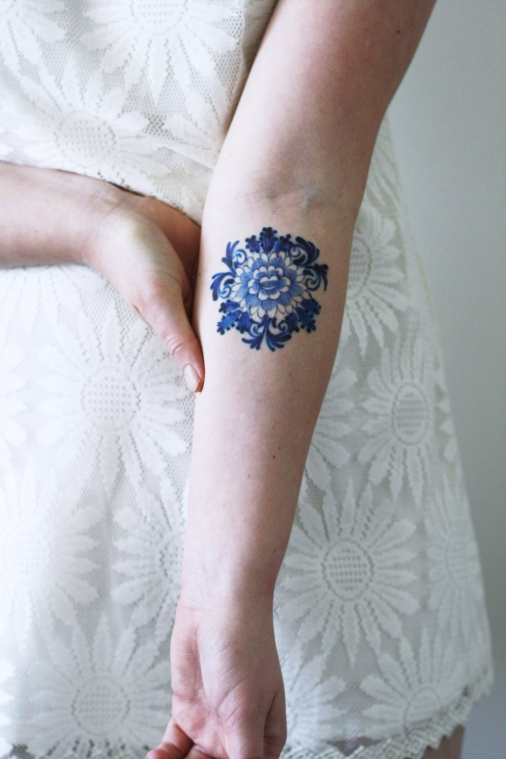 Delft blue temporary tattoo floral temporary tattoo flower for Floral temporary tattoos