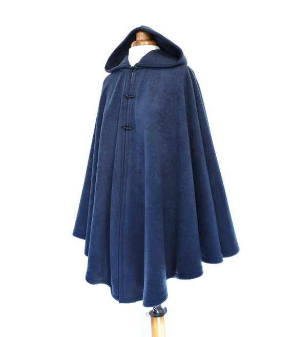 Navy Blue Hooded Cape Blue Hooded Cloak Plus Size Cape Coat