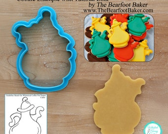 Whimsical Coffee Pot & Tea Pot Cookie Cutter Designed by Whisked Away Cutters - Tutorial Link Below - **Guideline Sketch to Print Below**