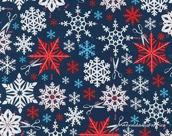 Blue Paper Snowflakes & Scissors Fabric, Swell Noel Christmas Fabric, Robert Kaufman 15814 277, Cynthia Frenette, Cotton