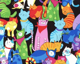 Colorful Cat Fabric, Timeless Treasures Gail C3180 Multi, Colorful Happy Cats, Kitty Fabric, Cat Quilt Fabric, Cotton Yardage