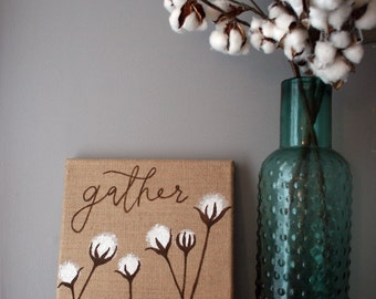 gather + cotton stalks, 10x10 brown burlap hand painted canvas