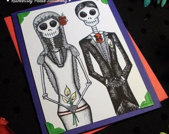 Bride + Groom in 'Cobalt' / Calavera Wedding Handmade Greeting Card