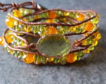 Lime green and orange leather wrapped bracelet, chan luu inspired, light green glass bezel, beaded multi wrap