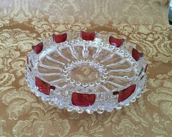 Ruby Flash Pressed Glass Shallow Dish Bowl, Smooth Inside,  3 Round Feet, Cranberry Pressed Glass, Ruby Flash Panels, Candy Dish, Ashtray