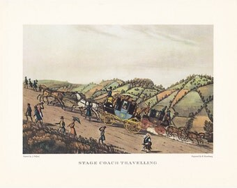 Carriage driving Stage Coach Travelling horse drawn carriage vintage print illustration home office décor 9.5 x 7 inches