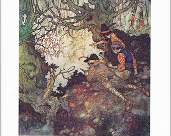 Snow Queen vintage art nouveau print illustration folk tale fairy tale Hans Andersen Edmund Dulac 8.5x11.5 inches