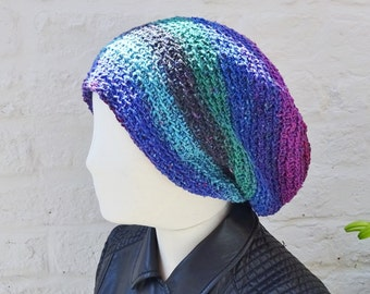 Slouchy crochet beanie - silk wool slouchy hat - blue, green, purple, pink - ready to ship - FREE DELIVERY