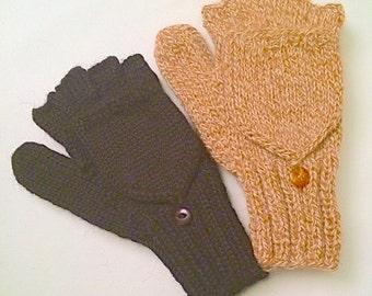 Handmade 100% Alpaca Glittens: Extra thick, hooded fingerless texting gloves for men and women.  Winter holiday gift, christmas, hanukkah