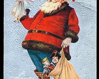 1910 Santa Claus with Toys & Bag Postcard