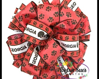 Georgia Bulldogs Paw Print Bow, Game Day Bow, Black Red White Bow, Craft , Wreath Bow, Mailbox Bow, Door Bow, Tailgating Bow, Dawg Dorm Bow