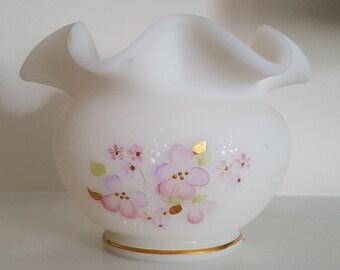 Vintage Fenton Custard Vase Pink Flowers Gold Accents
