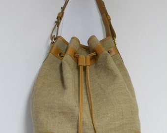 hemp and leather bucket bag