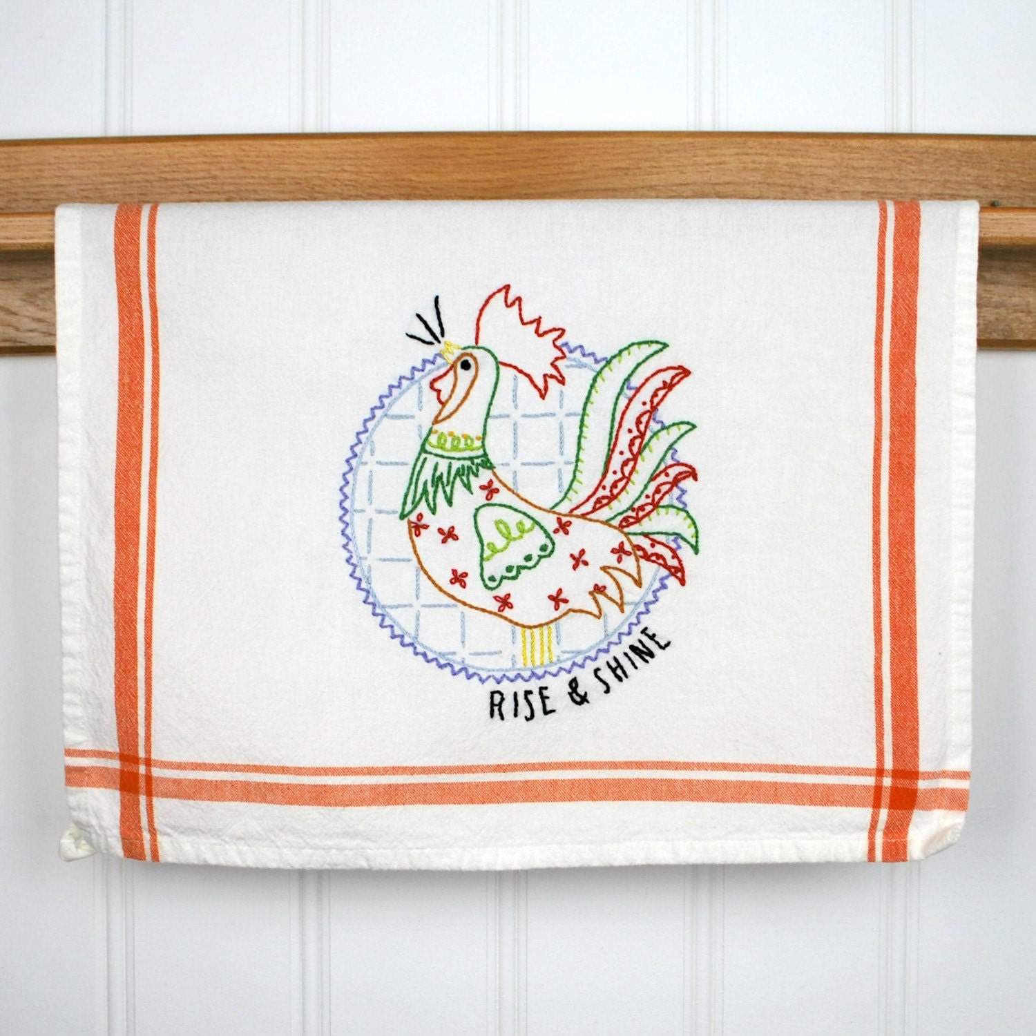 Rooster Dish Towel Hand Embroidered Kitchen Towel Rooster