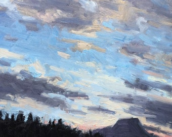 Sunset 8x8 Landscape Oil Painting