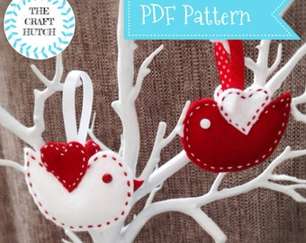 Craft Kit PDF Pattern, Make Your Own, Instant Download, Love PDF, Craft, Sewing Project, Bird Accessory, Sew Your Own, Valentine Kit