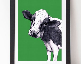 Cow Face A4 Print Farm Farmer Country Land Kitchen Study Nursery Bedroom Friesian Green Rural Children