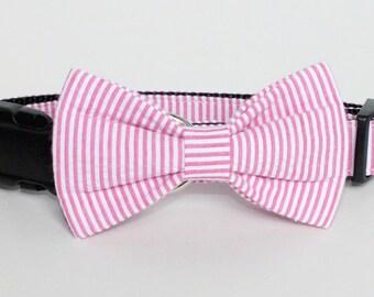 Dark Pink Seersucker Dog Bow Tie ONLY, Cat Bow Tie, pet bow tie, collar bow tie, wedding bow tie