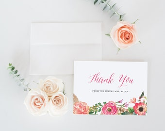 Bridal Shower Thank You Cards, Printable Bridal Shower Thank You Card, Future Mrs. Thank You Card, Editable PDF Template, A2, #KKD114_34