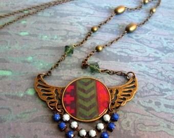Bronze Winged Pendant Necklace with Chevron Design