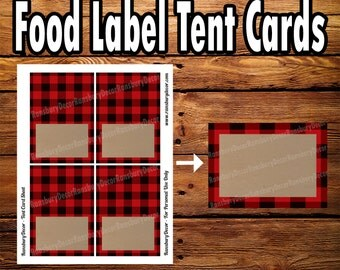 Buffalo Plaid Tent Card - Food Tent - Lumberjack Theme - Printable Decor - Food Label - Camping Digital Download - Woodland Forest - Flannel