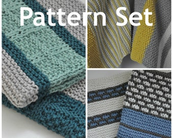 Kitchen Dish Towel PATTERN Combo - Set of 6 Dish Towel Knitting Patterns