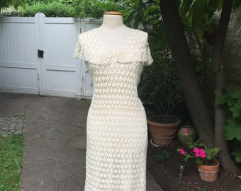 Truly amazing and rare, long, white hand crochet dress with a peter pan collar; vintage from the 1930's.