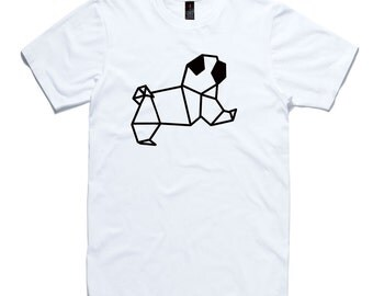 Pug Origami T-Shirt by RockPaperHeart in white, dog geometric tee mens and womens sizes