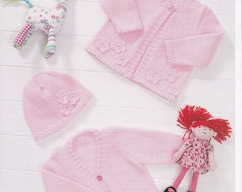 New Baby Beanie Pattern Baby Cardigan Pattern Crochet Flower Easy Pattern Knitting Pattern Knit Pattern Baby Raglan Sleeve Stylecraft 8533