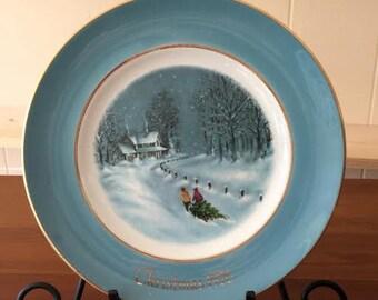 Christmas Plate, Avon Plate, Vintage Plate, Wedgwood Plate, Collectible Plate, Christmas Decor, Vintage Christmas, Blue Christmas Decor