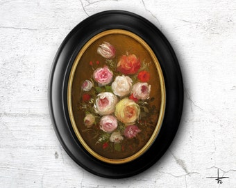 Oil Painting 5x7 in - ORIGINAL - Flowers, Floral - Painting by Bruno Monteiro Carlos