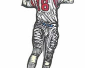 Archie Manning   Ole Miss Woodblock Print