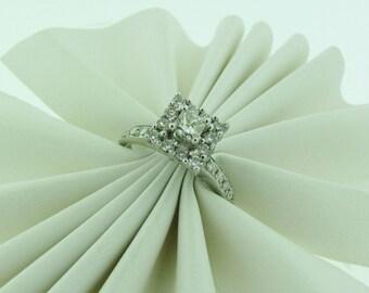 14 K white gold diamond halo design engagement ring