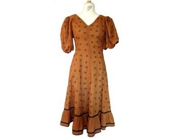 1960s 70s designer Luis Mari Cote D Azur Gypsy DRESS // size eu 38 - uk 1 0 - us 6