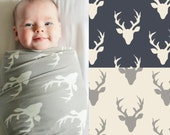 Swaddle Blanket in Deer Antlers Cotton Knit in Taupe, Gray, Navy, Cream