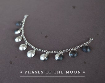 Moon Phases Bracelet, Celestial Jewelry,Moon Jewelry Sterling Silver,Lunar Jewelry Phases of the Moon Bracelet Sterling Silver Moon Bracelet